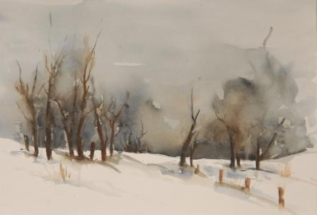 Winterlandschap Aquarel 45 x 60