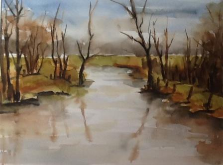 Dinkellandschap Aquarel 90 x 70